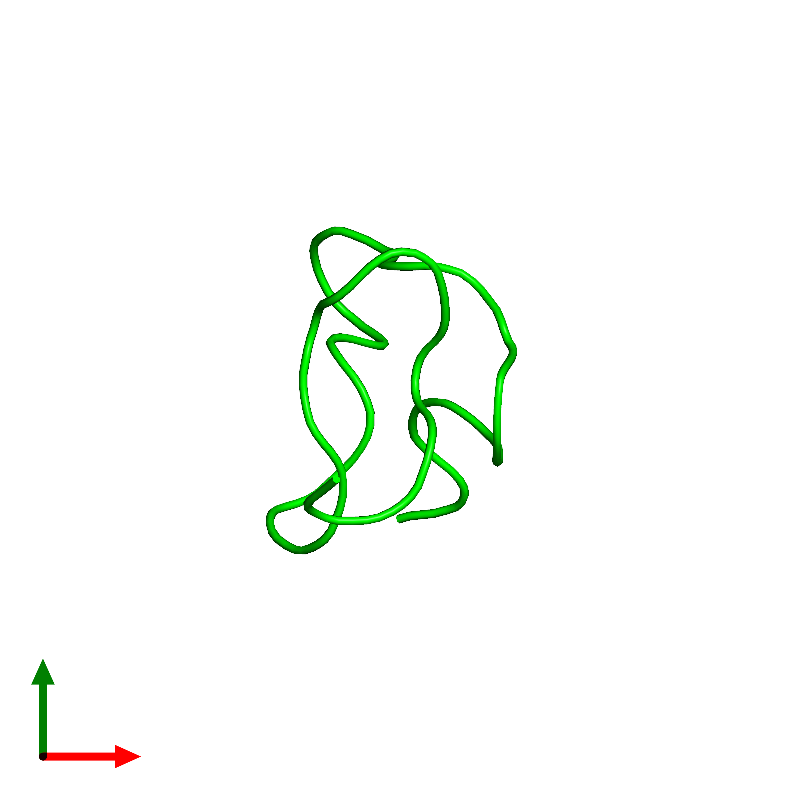 <div class='caption-body'><ul class ='image_legend_ul'>The deposited structure of PDB entry 1emx coloured by chemically distinct molecules and viewed from the top. The entry contains: <li class ='image_legend_li'>1 copy of Kappa-sparatoxin-Hv1b</li><li class ='image_legend_li'>There are no non-polymeric molecules</li></ul></li></ul></li></div>