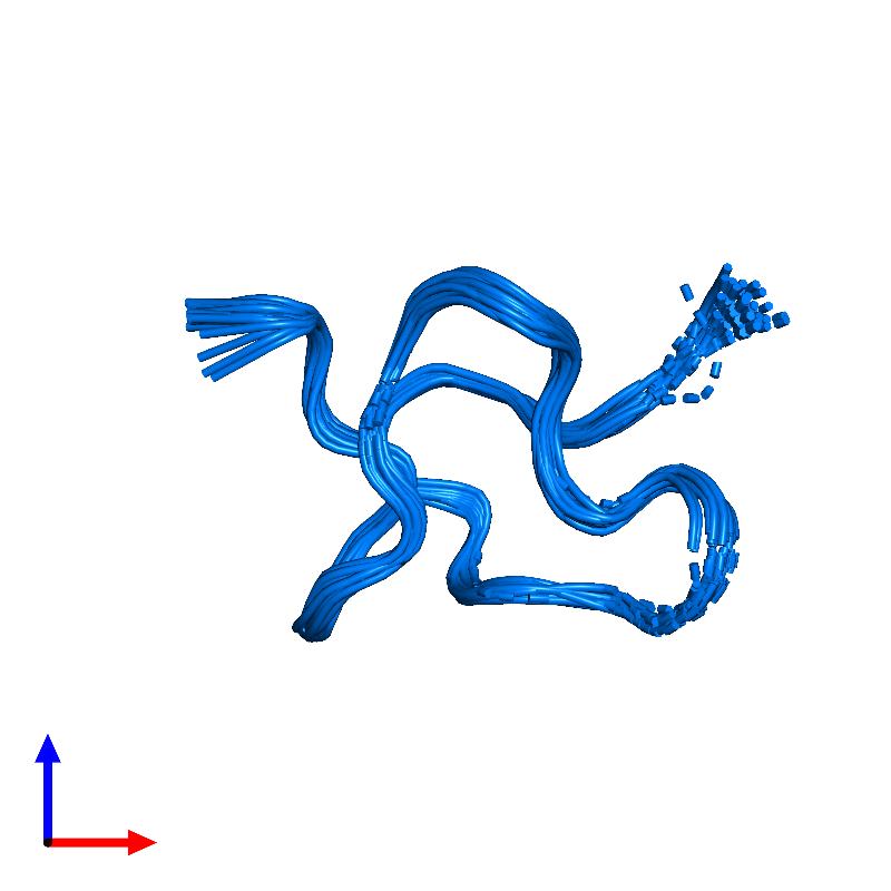 <div class='caption-body'>PDB entry 1emx contains 1 copy of Kappa-sparatoxin-Hv1b in assembly 1. This protein is highlighted and viewed from the front.</div>