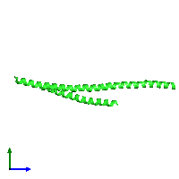 PDB 1env coloured by chain and viewed from the side.