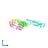 PDB 1eo8 coloured by chain and viewed from the side.