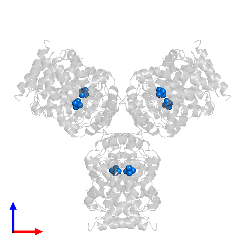 <div class='caption-body'>PDB entry 1eoi contains 6 copies of MOLYBDATE ION in assembly 1. This small molecule is highlighted and viewed from the front.</div>