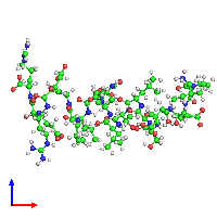 PDB 1eqx coloured by chain and viewed from the front.