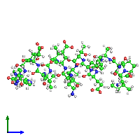 PDB 1eqx coloured by chain and viewed from the side.