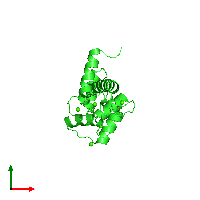 PDB 1exr coloured by chain and viewed from the top.