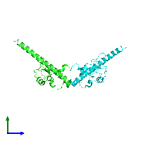 PDB 1f3h coloured by chain and viewed from the side.