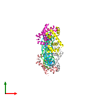 PDB 1f5t coloured by chain and viewed from the top.