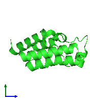 PDB 1f68 coloured by chain and viewed from the side.