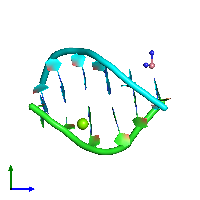 PDB 1f69 coloured by chain and viewed from the side.
