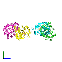 PDB 1f76 coloured by chain and viewed from the side.