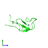 PDB 1far coloured by chain and viewed from the side.