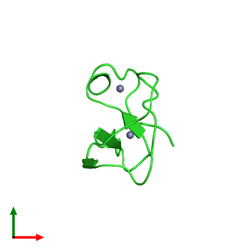 <div class='caption-body'><ul class ='image_legend_ul'>The deposited structure of PDB entry 1far coloured by chain and viewed from the top. The entry contains: <li class ='image_legend_li'>1 copy of RAF proto-oncogene serine/threonine-protein kinase</li><li class ='image_legend_li'>There is 1 non-polymeric molecule<ul class ='image_legend_ul'><li class ='image_legend_li'>2 copies of ZINC ION</li></ul></li></div>