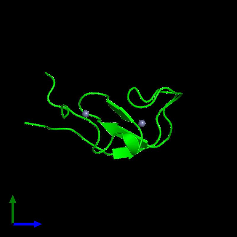 <div class='caption-body'><ul class ='image_legend_ul'>The deposited structure of PDB entry 1far coloured by chemically distinct molecules and viewed from the side. The entry contains: <li class ='image_legend_li'>1 copy of RAF proto-oncogene serine/threonine-protein kinase</li><li class ='image_legend_li'>There is 1 non-polymeric molecule<ul class ='image_legend_ul'><li class ='image_legend_li'>2 copies of ZINC ION</li></ul></li></div>
