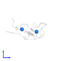PDB 1far contains 2 copies of ZINC ION in assembly 1. This small molecule is highlighted and viewed from the side.
