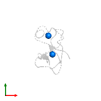 PDB 1far contains 2 copies of ZINC ION in assembly 1. This small molecule is highlighted and viewed from the top.