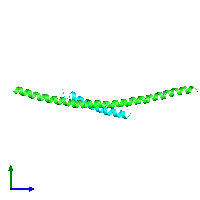 PDB 1fav coloured by chain and viewed from the side.