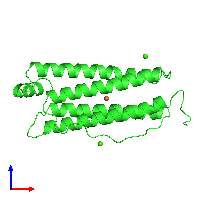 PDB 1fha coloured by chain and viewed from the front.