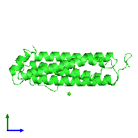 PDB 1fha coloured by chain and viewed from the side.