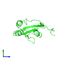 PDB 1fjd coloured by chain and viewed from the side.