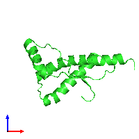 PDB 1fkc coloured by chain and viewed from the front.