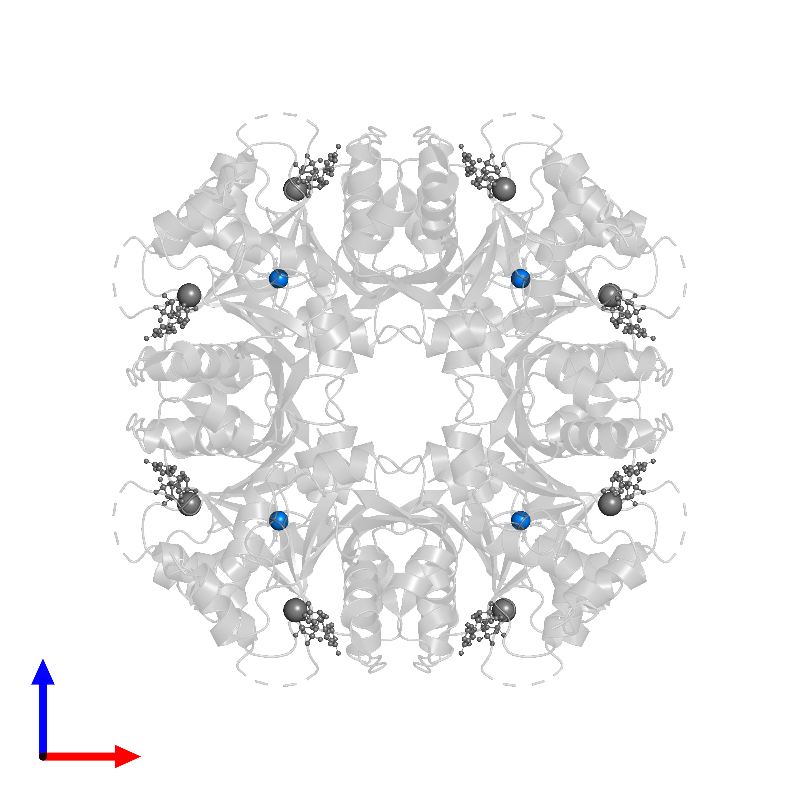 <div class='caption-body'>PDB entry 1frw contains 8 copies of ZINC ION in assembly 1. This small molecule is highlighted and viewed from the front.</div>