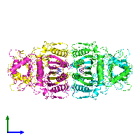 PDB 1fta coloured by chain and viewed from the side.