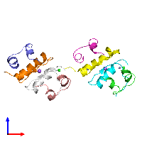 PDB 1fu2 coloured by chain and viewed from the front.