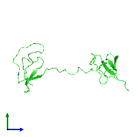 PDB 1fyb coloured by chain and viewed from the side.