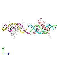 PDB 1g2d coloured by chain and viewed from the side.