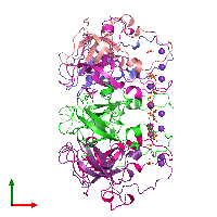PDB 1g31 coloured by chain and viewed from the top.