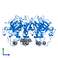 PDB 1g31 contains 7 copies of Capsid assembly protein Gp31 in assembly 1. This protein is highlighted and viewed from the side.