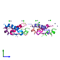 PDB 1g7a coloured by chain and viewed from the side.