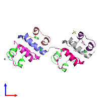 PDB 1g7b coloured by chain and viewed from the front.