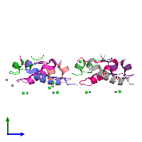 PDB 1g7b coloured by chain and viewed from the side.