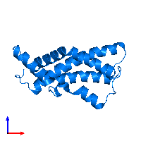 PDB 1gak contains 1 copy of Egg-lysin in assembly 1. This protein is highlighted and viewed from the front.