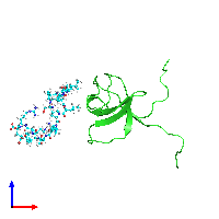 PDB 1gbr coloured by chain and viewed from the front.