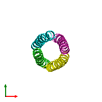 PDB 1gcl coloured by chain and viewed from the top.
