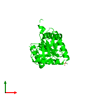 Dimeric assembly 1 of PDB entry 1gef coloured by chemically distinct molecules and viewed from the top.