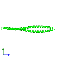 Dimeric assembly 2 of PDB entry 1gk4 coloured by chemically distinct molecules and viewed from the side.