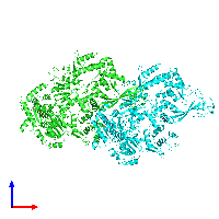 PDB 1gl9 coloured by chain and viewed from the front.