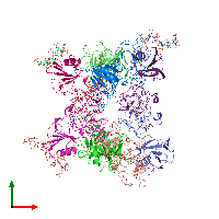 PDB 1gmo coloured by chain and viewed from the top.