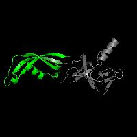 1 copy of SCOP domain 88799 (N-terminal, heterodimerisation domain of RBP7 (RpoE)) in DNA-directed RNA polymerase subunit Rpo7 in PDB 1go3.