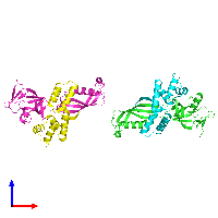 PDB 1go3 coloured by chain and viewed from the front.