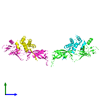 PDB 1go3 coloured by chain and viewed from the side.