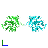PDB 1gow coloured by chain and viewed from the side.