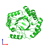 PDB 1gqn coloured by chain and viewed from the front.