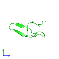 PDB 1gur coloured by chain and viewed from the side.