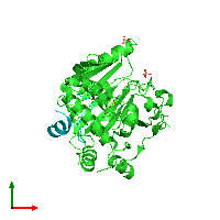 PDB 1h2l coloured by chain and viewed from the top.