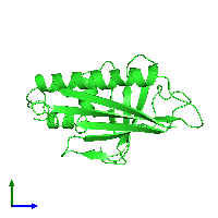 PDB 1h2o coloured by chain and viewed from the side.