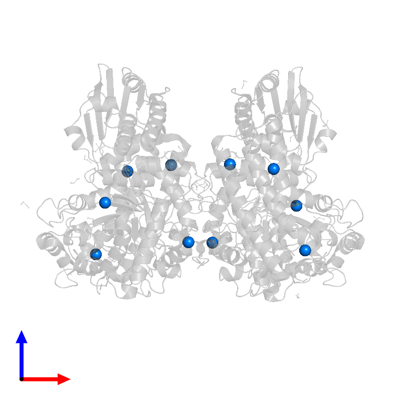 <div class='caption-body'>PDB entry 1h41 contains 10 copies of COBALT (II) ION in assembly 1. This small molecule is highlighted and viewed from the front.</div>