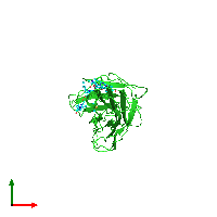 PDB 1h6e coloured by chain and viewed from the top.
